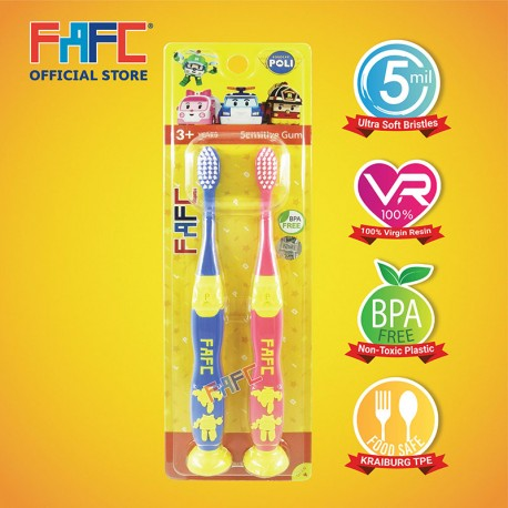 FAFC Robocar Poli - Poli Amber Suction Kids Toothbrush (2pcs)