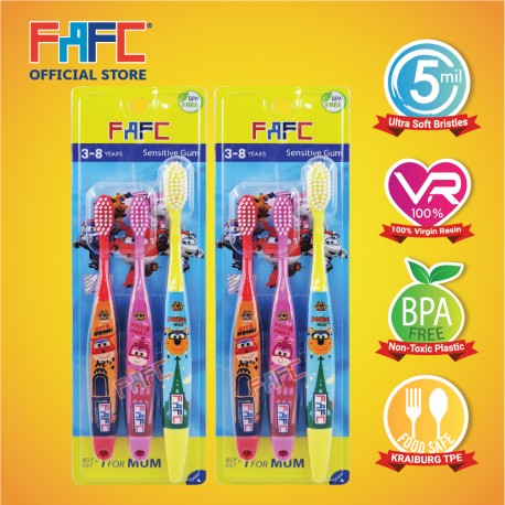 FAFC SW Super Wing Sleeve Kids Toothbrush 3-8 Bundle Set 1 (SW Super Sleeve Kids Toothbrush 3-8 x 2 units)