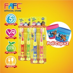 FAFC Robocar Mixed Suction Kids TB Bundle Set 1 (Poli Amber Suction Kids TB + Helly Roy Suction Kids TB + 2 cups)