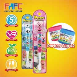 FAFC Loopy Toothbrush Figurine Bundle Set 2 (1 Loopy Figurine Toothbrush + 1 Poby Figurine Toothbrush + 2 Cup)