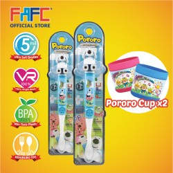 FAFC Poby Toothbrush Figurine Bundle Set 1 (1 Poby Figurine Toothbrush + 1 Poby Figurine Toothbrush + 2 Cup)