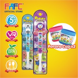 FAFC Petty Toothbrush Figurine Bundle Set 3 (1 Petty Figurine Toothbrush + 1 Poby Figurine Toothbrush + 2 Cup)