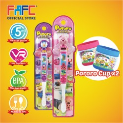 FAFC Petty Toothbrush Figurine Bundle Set 2 (1 Petty Figurine Toothbrush + 1 Loopy Figurine Toothbrush + 2 Cup)