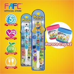 FAFC Pororo Toothbrush Figurine Bundle Set 4 (1 Pororo Figurine Toothbrush + 1 Poby Figurine Toothbrush + 2 Cup)