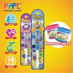 FAFC Pororo Toothbrush Figurine Bundle Set 2 (1 Pororo Figurine Toothbrush + 1 Petty Figurine Toothbrush + 2 Cup)