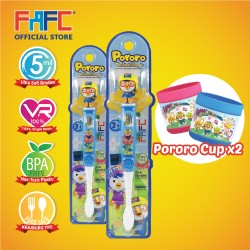 FAFC Pororo Toothbrush Figurine Bundle Set 1 (1 Pororo Figurine Toothbrush + 1 Pororo Figurine Toothbrush + 2 Cup)