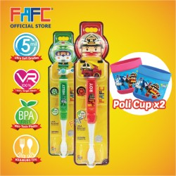 FAFC Robocar Roy Toothbrush Figurine Bundle Set 2 (1 Roy Figurine Toothbrush + 1 Helly Figurine Toothbrush + 2 Cup)