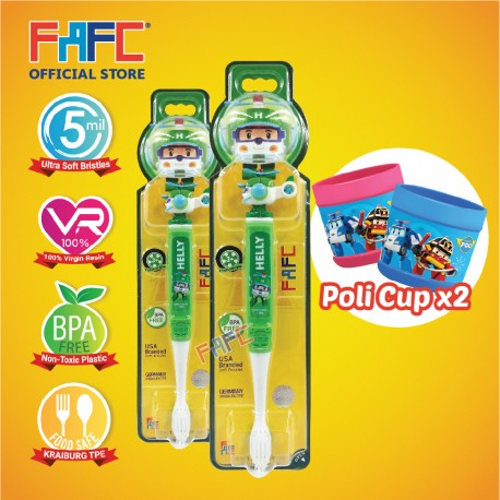 FAFC Robocar Helly Toothbrush Figurine Bundle Set 1 (1 Helly Figurine Toothbrush + 1 Helly Figurine Toothbrush + 2 Cup)
