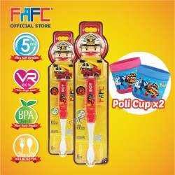 FAFC Robocar Roy Toothbrush Figurine Bundle Set 1 (1 Roy Figurine Toothbrush + 1 Roy Figurine Toothbrush + 2 Cup)
