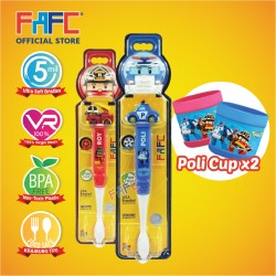 FAFC Robocar Poli Toothbrush Figurine Bundle Set 4 (1 Poli Figurine Toothbrush + 1 Roy Figurine Toothbrush + 2 Cup)