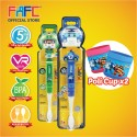 FAFC Robocar Poli Toothbrush Figurine Bundle Set 3 (1 Poli Figurine Toothbrush + 1 Helly Figurine Toothbrush + 2 Cup)