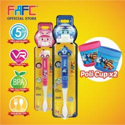 FAFC Robocar Poli Toothbrush Figurine Bundle Set 2 (1 Poli Figurine Toothbrush + 1 Amber Figurine Toothbrush + 2 Cup)
