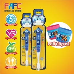 FAFC Robocar Poli Toothbrush Figurine Bundle Set 1 (1 Poli Figurine Toothbrush + 1 Poli Figurine Toothbrush + 2 Cup)