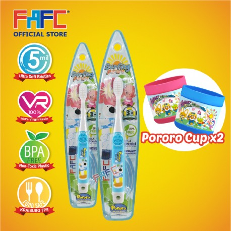 FAFC Poby Toothbrush Hook Bundle Set 1 (1 Poby Hook Toothbrush + 1 Poby Hook Toothbrush + 2 Cup)