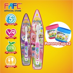 FAFC Petty Toothbrush Hook Bundle Set 2 (1 Petty Hook Toothbrush + 1 Loopy Hook Toothbrush + 2 Cup)