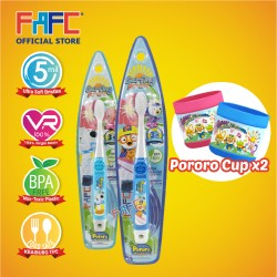 FAFC Pororo Toothbrush Hook Bundle Set 4 (1 Pororo Hook Toothbrush + 1 Poby Hook Toothbrush + 2 Cup)