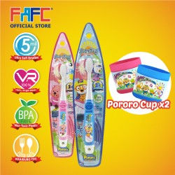 FAFC Pororo Toothbrush Hook Bundle Set 3 (1 Pororo Hook Toothbrush + 1 Loopy Hook Toothbrush + 2 Cup)