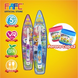 FAFC Pororo Toothbrush Hook Bundle Set 2 (1 Pororo Hook Toothbrush + 1 Petty Hook Toothbrush + 2 Cup)