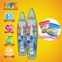 FAFC Pororo Toothbrush Hook Bundle Set 1 (1 Pororo Hook Toothbrush + 1 Pororo Hook Toothbrush + 2 Cup)