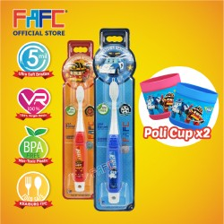 FAFC Robocar Poli Toothbrush Hook Bundle Set 4  (1 Poli Hook Toothbrush + 1 Roy Hook Toothbrush + 2 Cup)