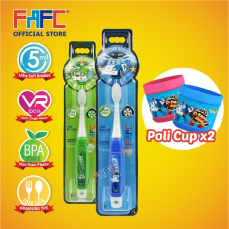 FAFC Robocar Poli Toothbrush Hook Bundle Set 3 (1 Poli Hook Toothbrush + 1 Helly Hook Toothbrush + 2 Cup)