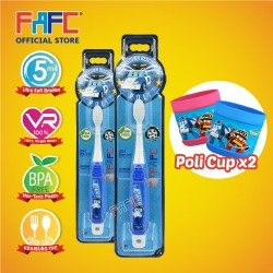 FAFC Robocar Poli Toothbrush Hook Bundle Set 1  (1 Poli Hook Toothbrush + 1 Poli Hook Toothbrush + 2 Cup)