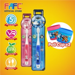 FAFC Robocar Poli Toothbrush Hook Bundle Set 2 (1 Poli Hook Toothbrush + 1 Amber Hook Toothbrush + 2 Cup)