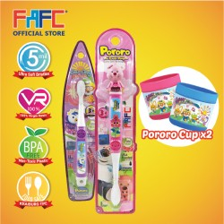 FAFC Loppy Toothbrush Bundle Set 3 (1 Loopy Figurine Toothbrush + 1 Petty Hook Toothbrush + 1 Cup)