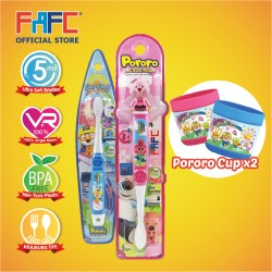 FAFC Loppy Toothbrush Bundle Set 2 (1 Loopy Figurine Toothbrush + 1 Pororo Hook Toothbrush + 1 Cup)