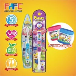 FAFC Petty Toothbrush Bundle Set 4 (1 Petty Figurine Toothbrush + 1 Poby Hook Toothbrush + 1 Cup)