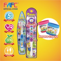FAFC Petty Toothbrush Bundle Set 2 (1 Petty Figurine Toothbrush + 1 Pororo Hook Toothbrush + 1 Cup)