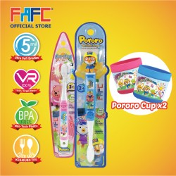 FAFC Pororo Toothbrush Bundle Set 3 (1 Pororo Figurine Toothbrush + 1 Loopy Hook Toothbrush + 1 Cup)