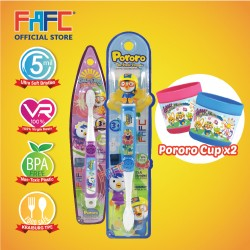 FAFC Pororo Toothbrush Bundle Set 2 (1 Pororo Figurine Toothbrush + 1 Petty Hook Toothbrush + 1 Cup)
