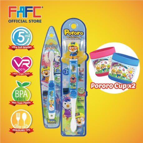 FAFC Pororo Toothbrush Bundle Set 1 (1 Pororo Figurine Toothbrush + 1 Pororo Hook Toothbrush + 1 Cup)