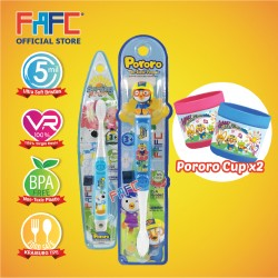 FAFC Pororo Toothbrush Bundle Set 4 (1 Pororo Figurine Toothbrush + 1 Poby Hook Toothbrush + 1 Cup)