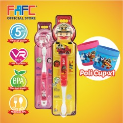 FAFC Robocar Roy Toothbrush Bundle Set 3 (1 Roy Figurine Toothbrush + 1 Amber Hook Toothbrush + 1 Cup)