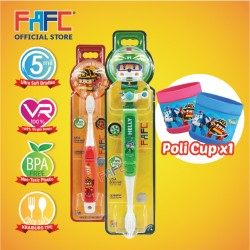 FAFC Robocar Helly Toothbrush Bundle Set 4 (1 Helly Figurine Toothbrush + 1 Roy Hook Toothbrush + 1 Cup)