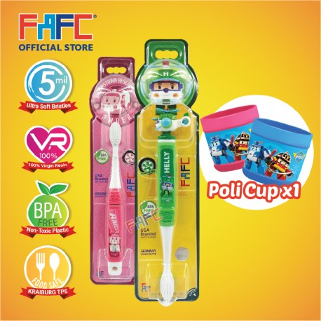 FAFC Robocar Helly Toothbrush Bundle Set 3 (1 Helly Figurine Toothbrush + 1 Amber Hook Toothbrush + 1 Cup)