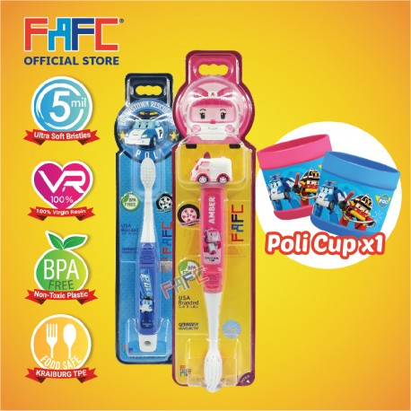 FAFC Robocar Amber Toothbrush Bundle Set 2 (1 Amber Figurine Toothbrush + 1 Poli Hook Toothbrush + 1 Cup)