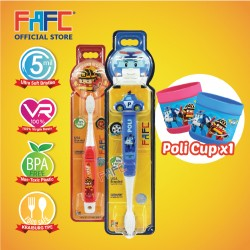 FAFC Robocar Poli Toothbrush Bundle Set 4 (1 Poli Figurine Toothbrush + 1 Roy Hook Toothbrush + 1 Cup)