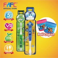 FAFC Robocar Poli Toothbrush Bundle Set 3 (1 Poli Figurine Toothbrush + 1 Helly Hook Toothbrush + 1 Cup)