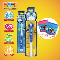 FAFC Robocar Poli Toothbrush Bundle Set 1 (1 Poli Figurine Toothbrush + 1 Poli Hook Toothbrush + 1 Cup)