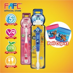 FAFC Robocar Poli Toothbrush Bundle Set 2 (1 Poli Figurine Toothbrush + 1 Amber Hook Toothbrush + 1 Cup)