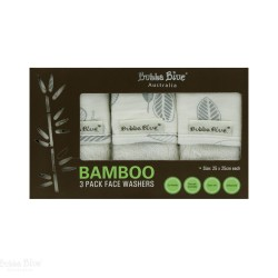 Bubba Blue Bamboo Leaf 3PK Face Washers
