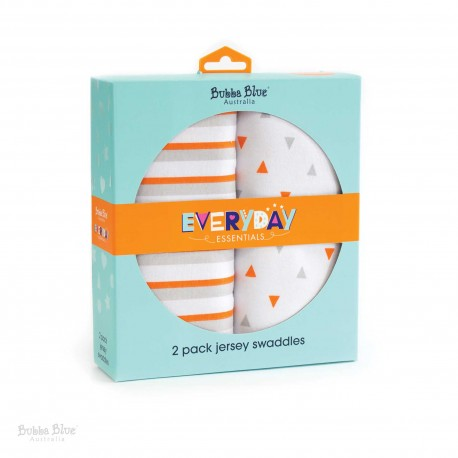 Bubba Blue Everyday Essentials 2 Pk Jersey Swaddles (Grey)
