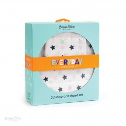 Bubba Blue Everyday Essentials 3pc Cot Sheet Set-Pink/Navy Star