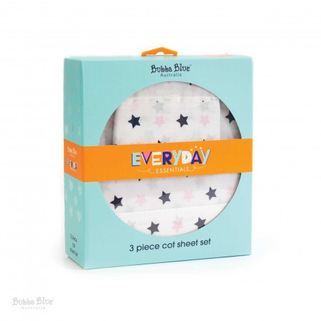 Bubba Blue Everyday Essentials 3pc Cot Sheet Set – Pink/Navy Star