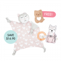 Kippins Kitty Cuddle Blankie Set (FREE Wooden Teether)