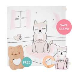 Kippins Kitty Story-print Wrap Set (FREE Wooden Teether)