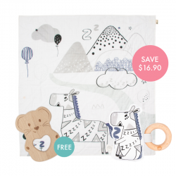 Kippins Bam Story-print Wrap Set (FREE Wooden Teether)